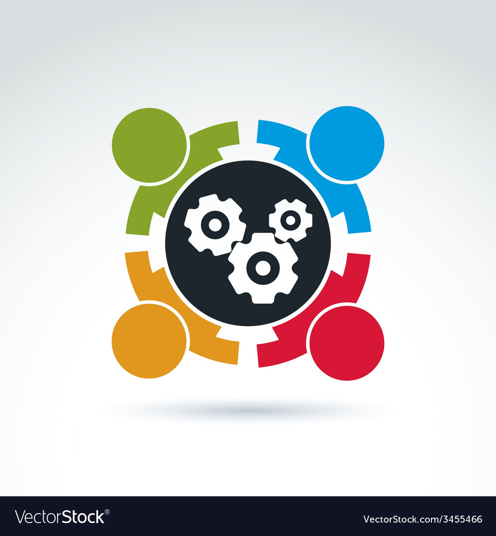 Gears and cogs teamwork theme icon conceptual vector | Price: 1 Credit (USD $1)
