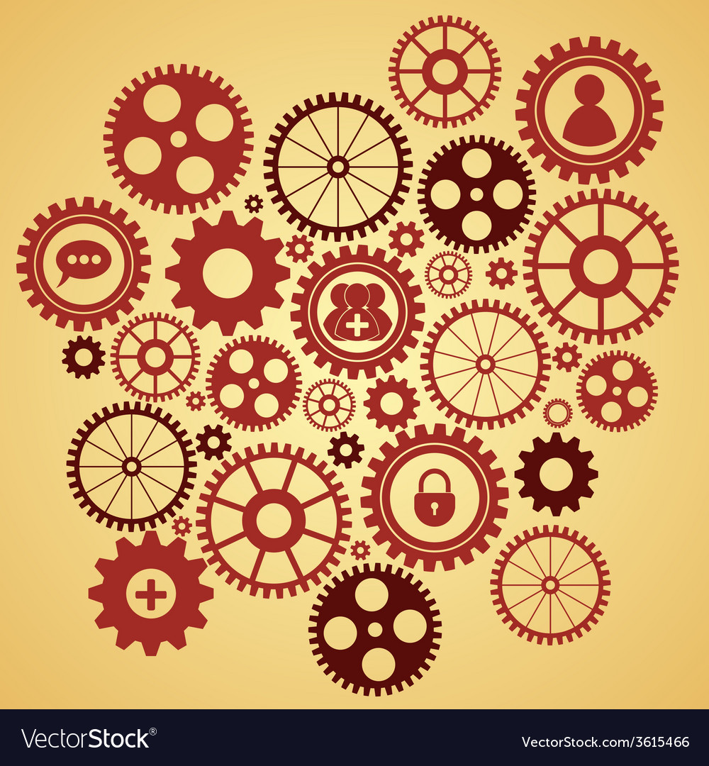 Gears with icons inside vector | Price: 1 Credit (USD $1)