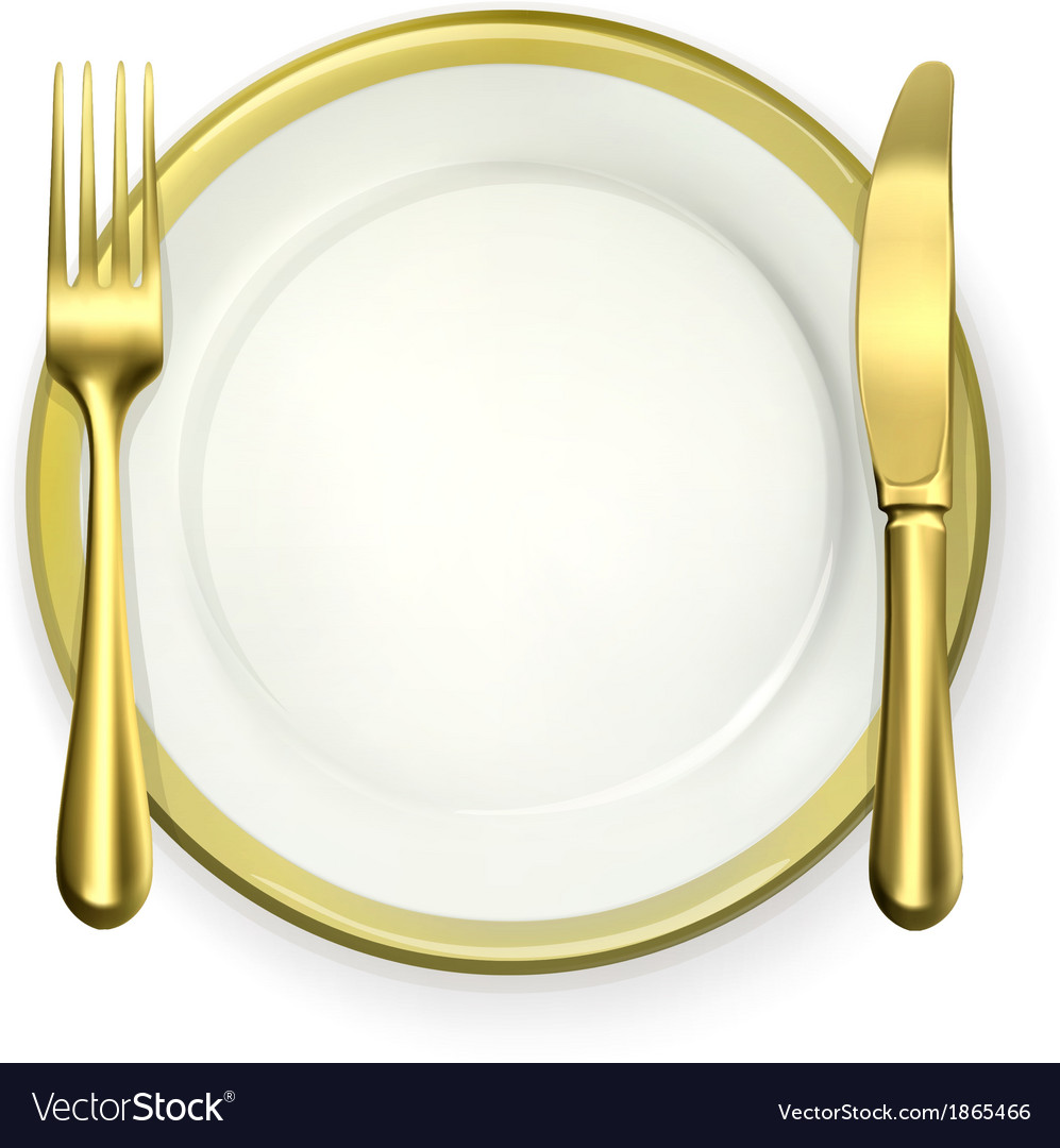 Gold dinner place setting vector | Price: 1 Credit (USD $1)