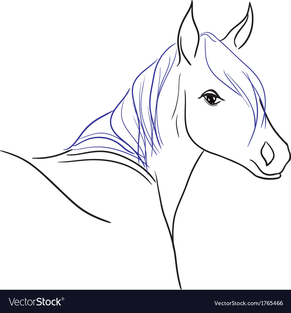 Horse with blue mane vector | Price: 1 Credit (USD $1)