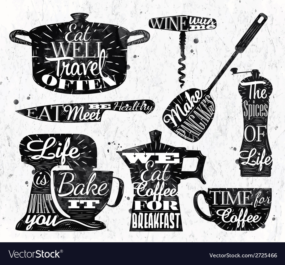 Kitchen symbol vintage lettering restaurant vector | Price: 1 Credit (USD $1)
