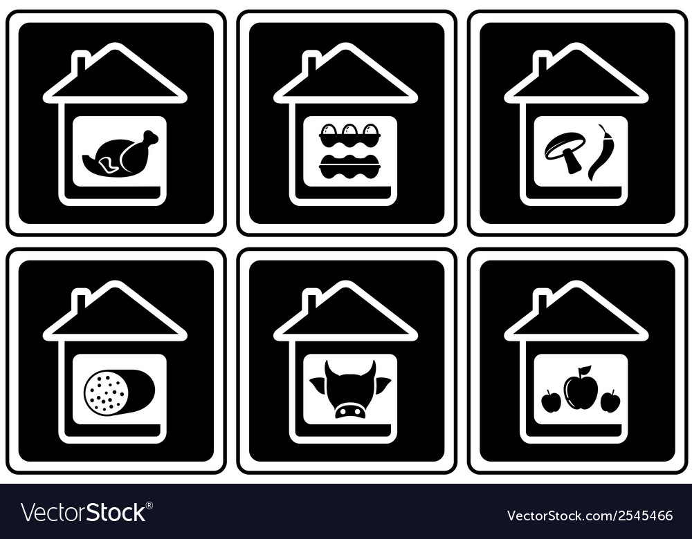 Set food icons on home vector | Price: 1 Credit (USD $1)