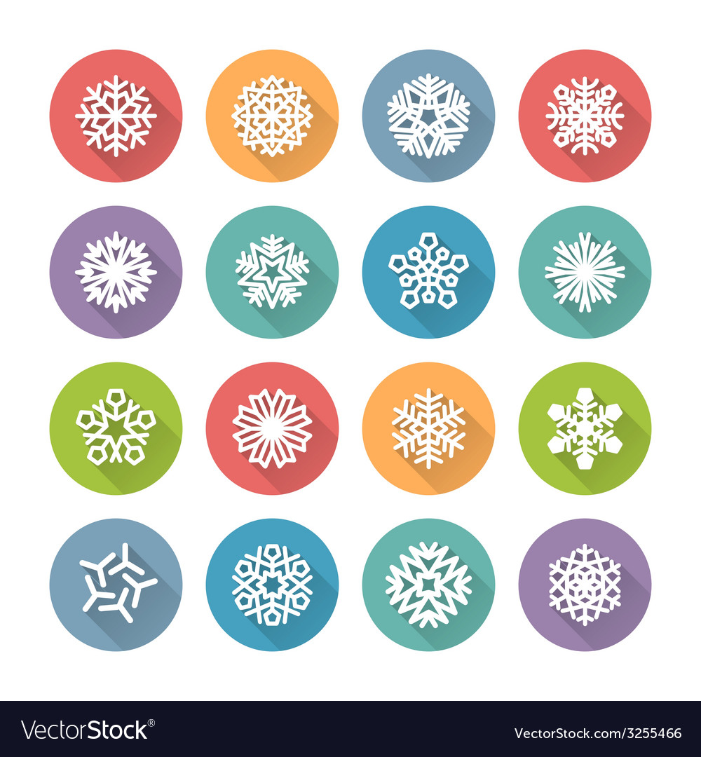 Set of simple round snowflakes icons vector | Price: 1 Credit (USD $1)