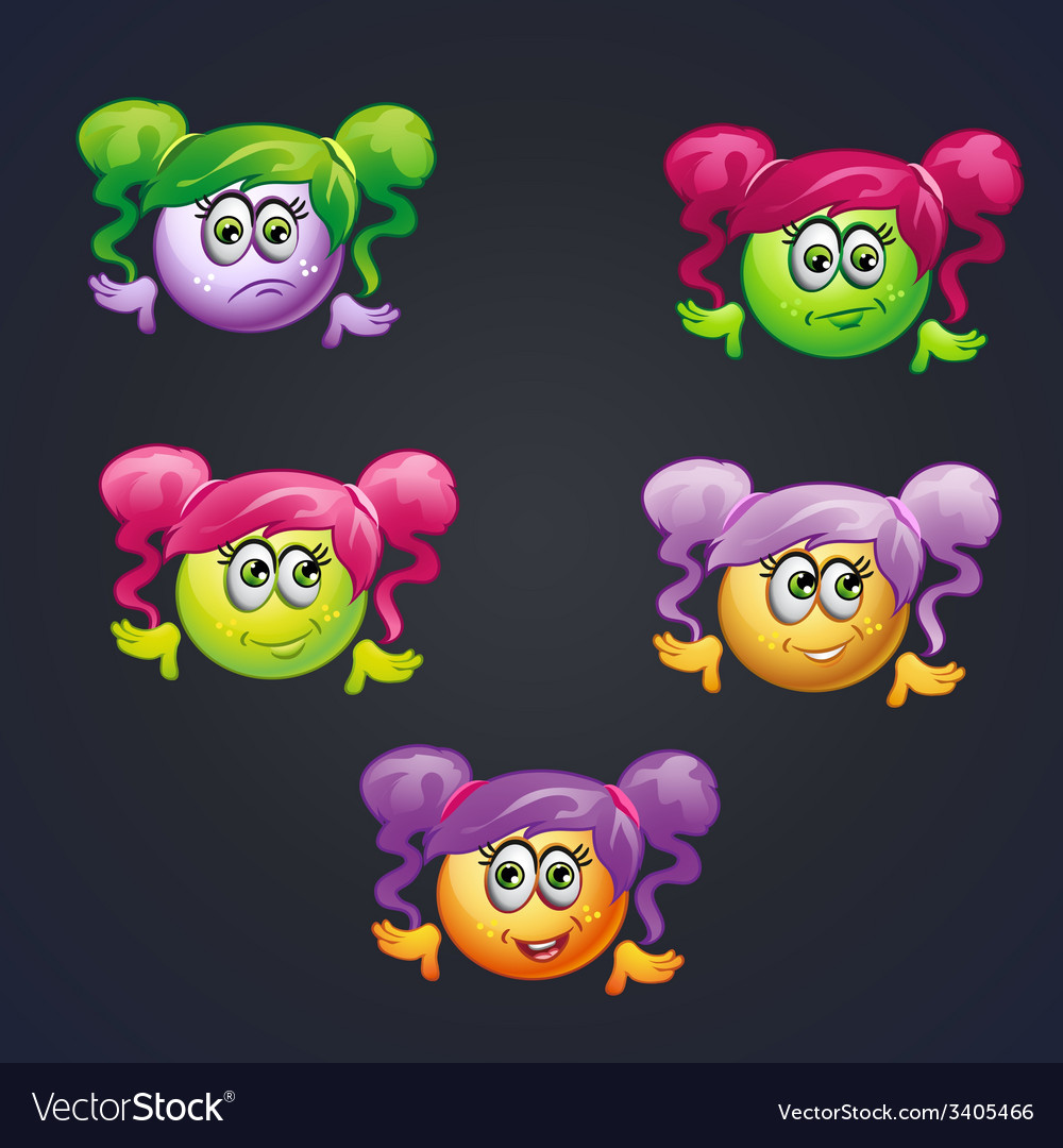 Set of smilies girls with different emotions for vector | Price: 1 Credit (USD $1)