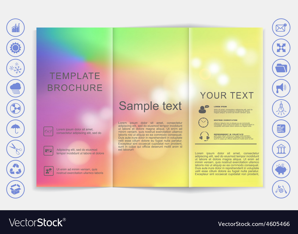 Tri-fold brochure mock up design smooth unfocused vector | Price: 1 Credit (USD $1)