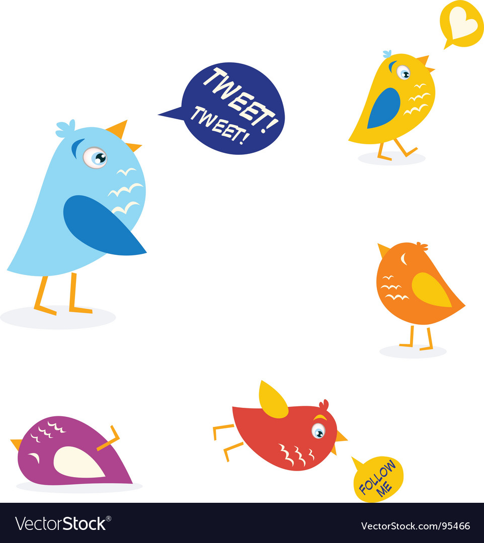 Twitter birds set vector | Price: 1 Credit (USD $1)