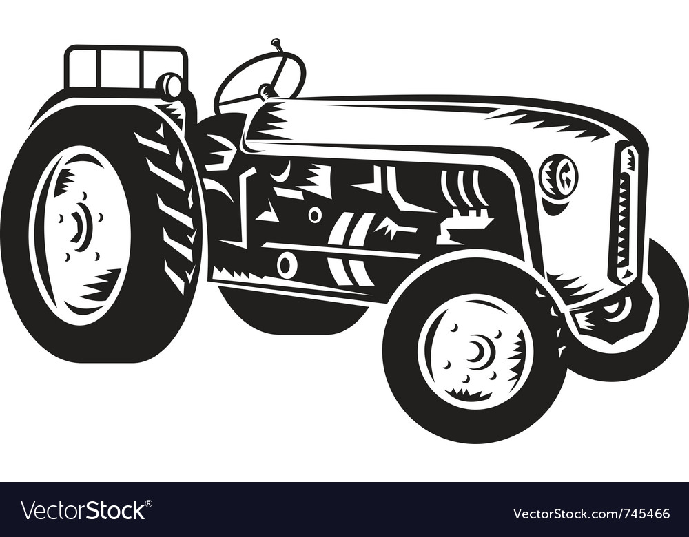 Vintage tractor vector | Price: 1 Credit (USD $1)