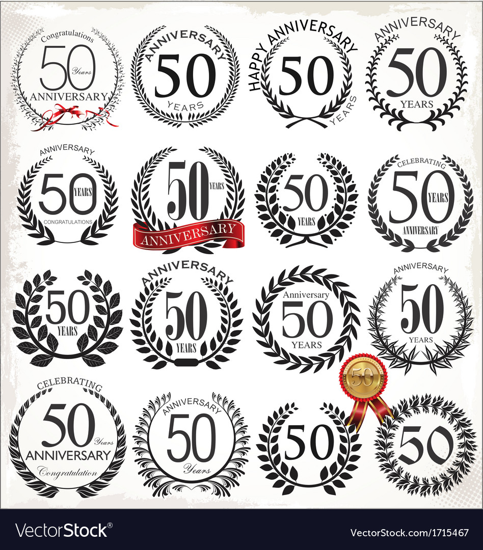 50 years anniversary laurel wreaths vector | Price: 1 Credit (USD $1)