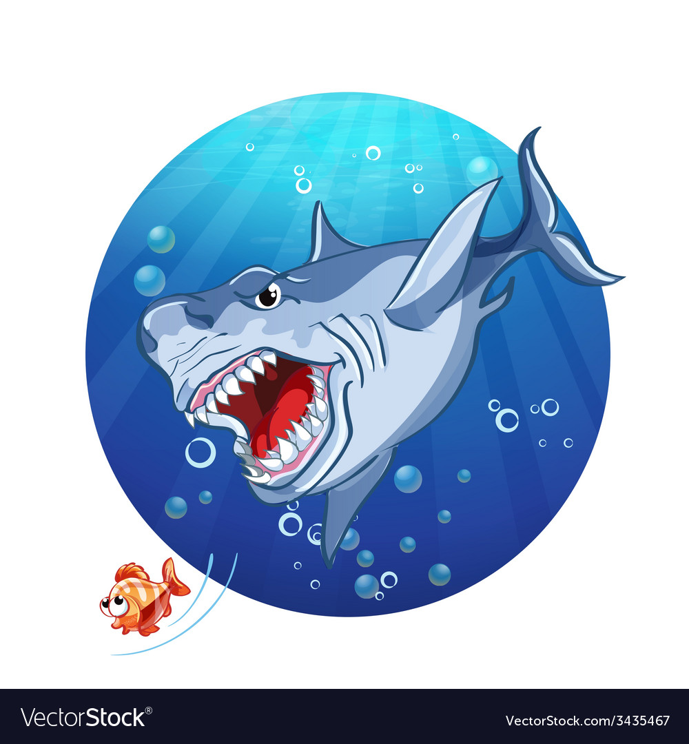 A shark chase the little fish vector | Price: 1 Credit (USD $1)