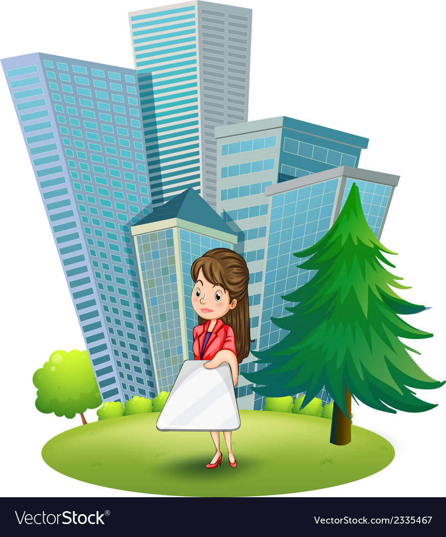 A woman outside the office vector | Price: 3 Credit (USD $3)
