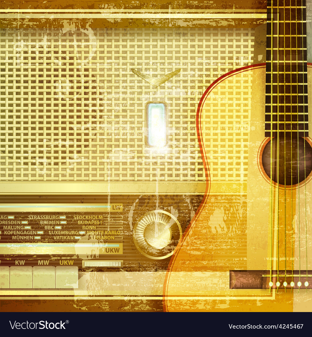 Abstract sound grunge background with retro radio vector | Price: 3 Credit (USD $3)