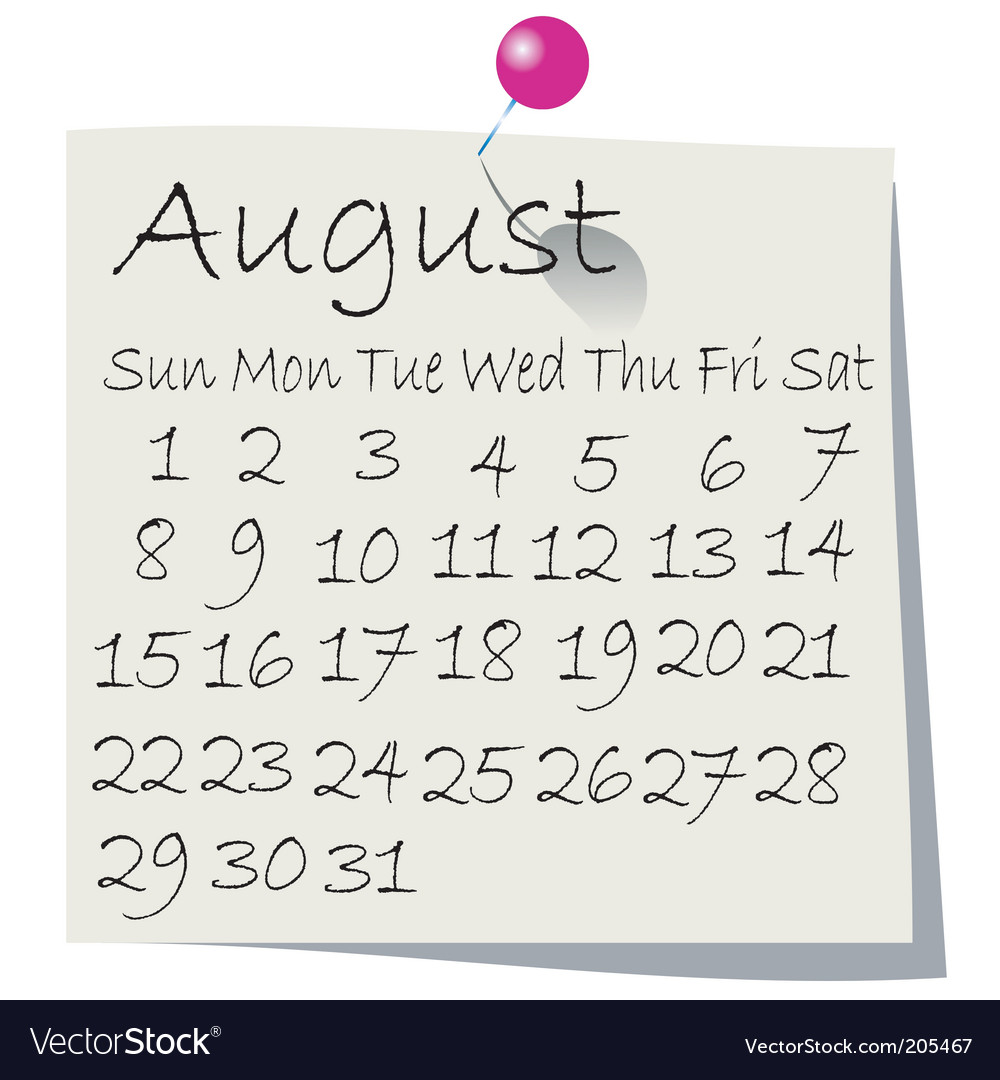 Calendar august 2010 vector | Price: 1 Credit (USD $1)