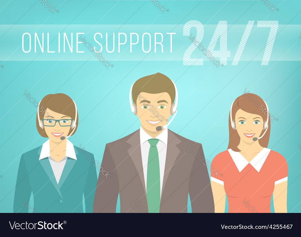 Call centre support team with headphones vector | Price: 1 Credit (USD $1)