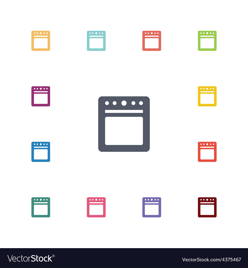 Cooker flat icons set vector | Price: 1 Credit (USD $1)