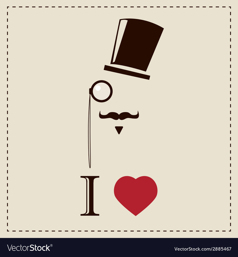 Gentleman hipster card with monocles and a hat vector | Price: 1 Credit (USD $1)
