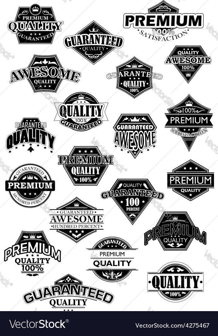 Quality black and white retro labels vector | Price: 1 Credit (USD $1)