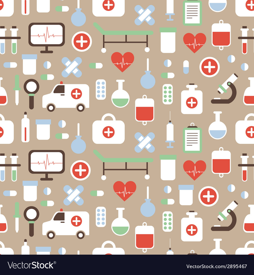 Seamless pattern of medical and health colorful vector | Price: 1 Credit (USD $1)