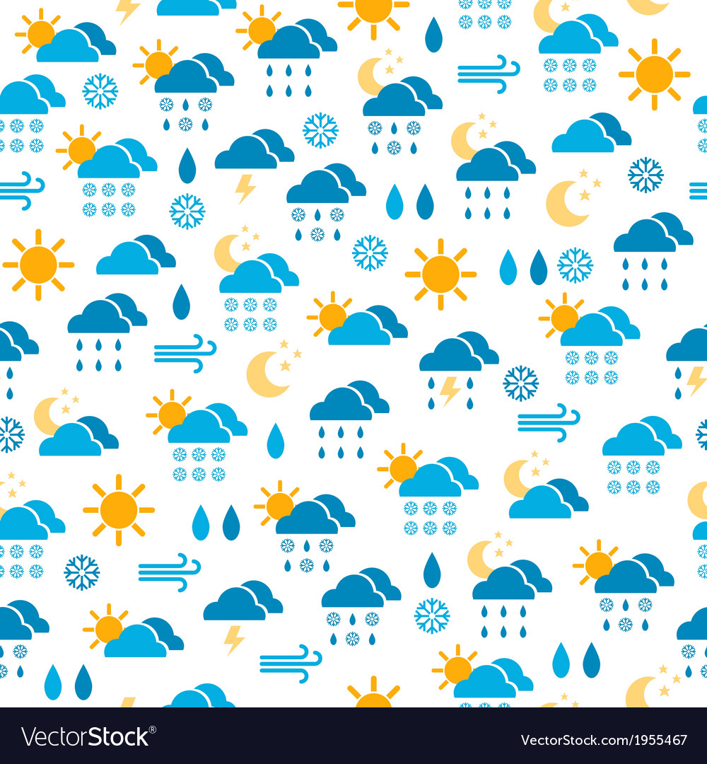 Seamless pattern of weather icons vector | Price: 1 Credit (USD $1)