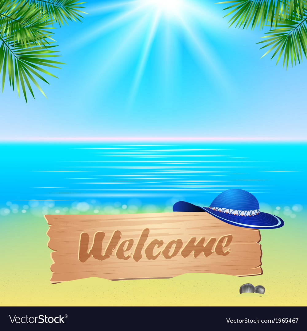 Summer seaside view poster vector | Price: 1 Credit (USD $1)