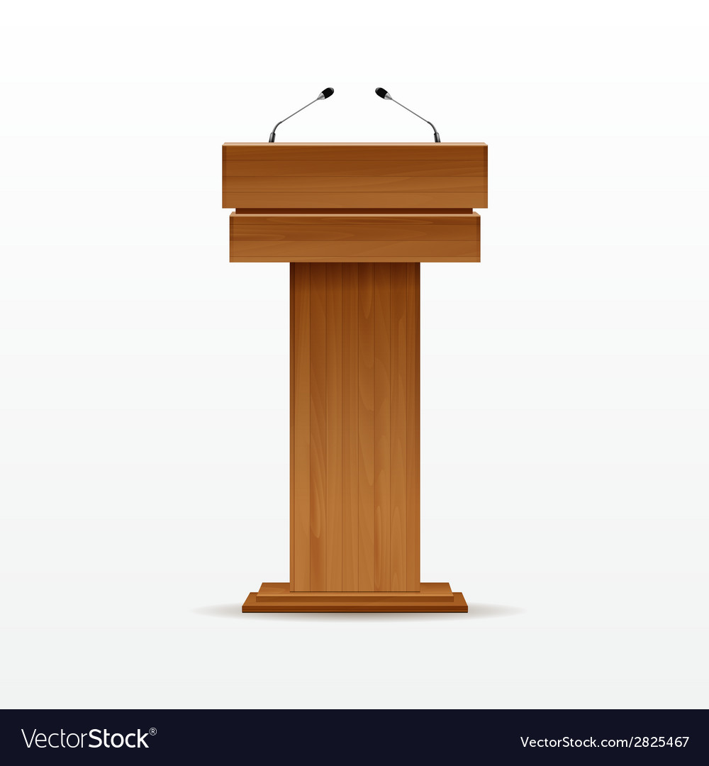 Wood podium tribune rostrum stand with microphone vector | Price: 1 Credit (USD $1)