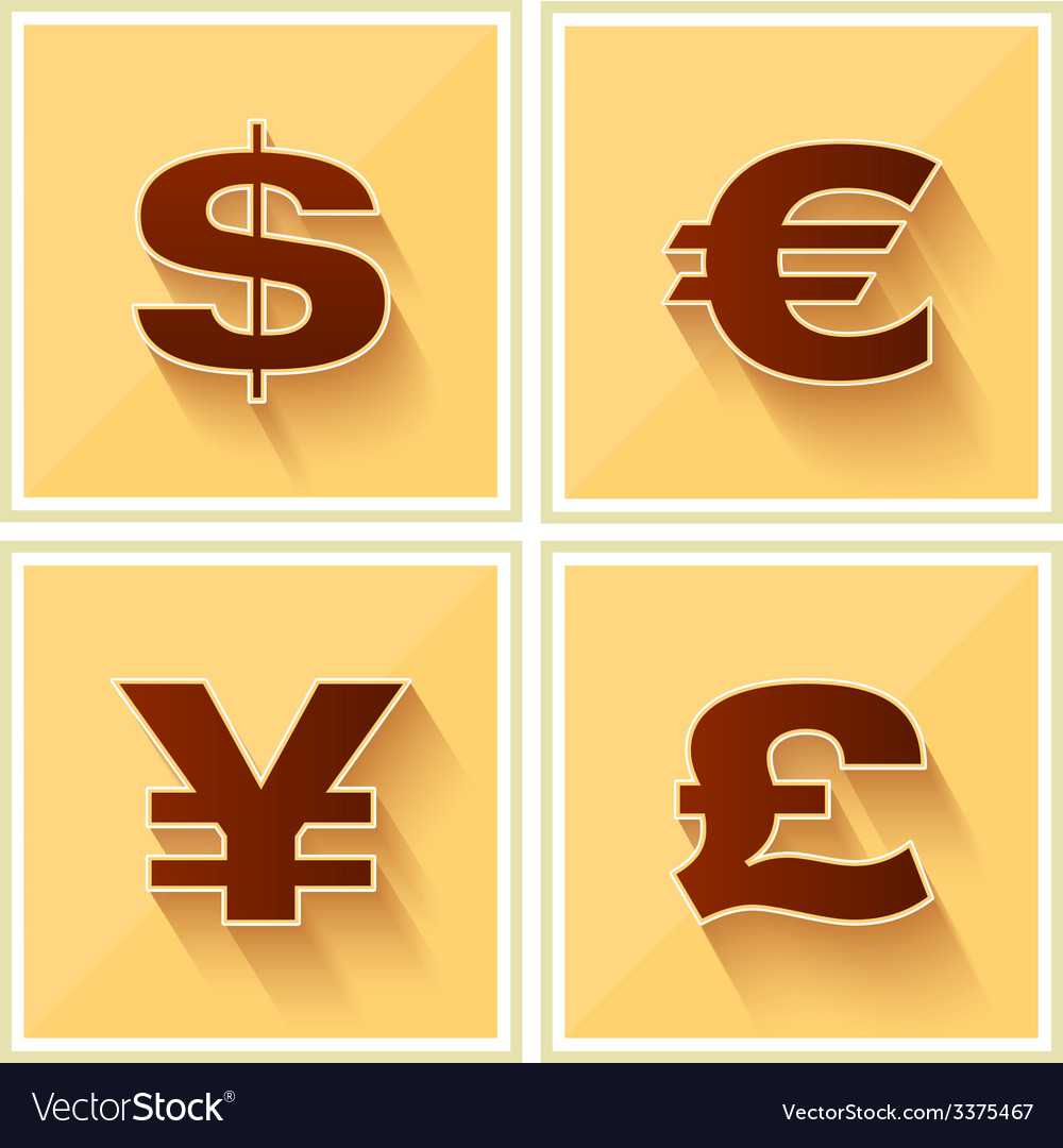 World currency symbols flat icon retro vector | Price: 1 Credit (USD $1)
