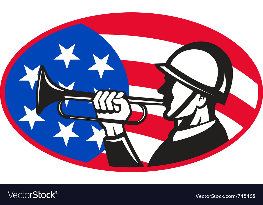 American soldier with bugle vector | Price: 1 Credit (USD $1)