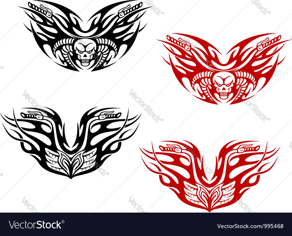 Bikers tattoos with flames vector | Price: 1 Credit (USD $1)