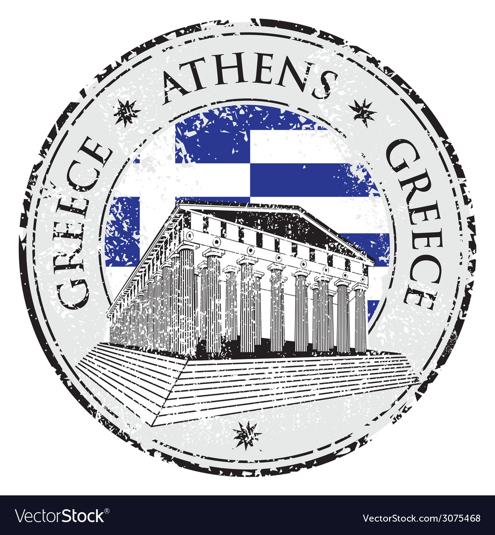 Blue grunge rubber stamp with the parthenon shape vector | Price: 1 Credit (USD $1)
