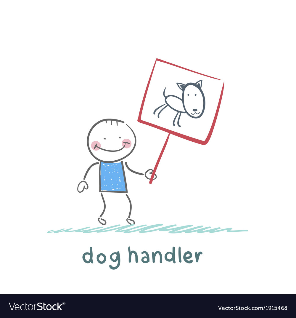 Canine holds a poster with a dog vector | Price: 1 Credit (USD $1)