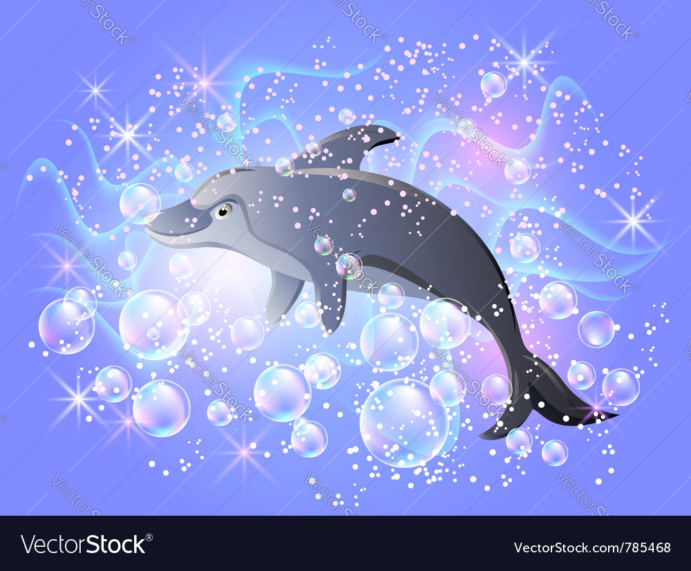 Dolphin swims vector | Price: 1 Credit (USD $1)