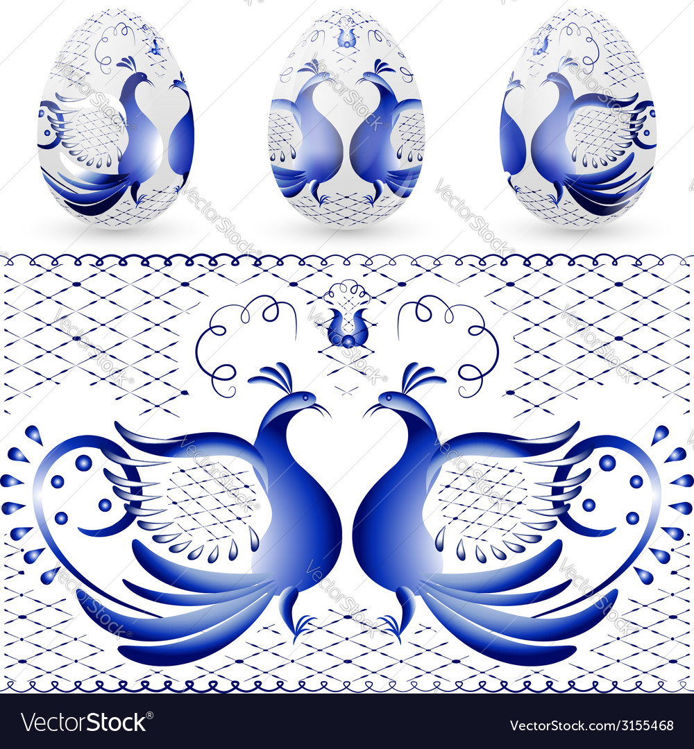 Easter egg with a pattern of stylized gzhel blue vector | Price: 1 Credit (USD $1)