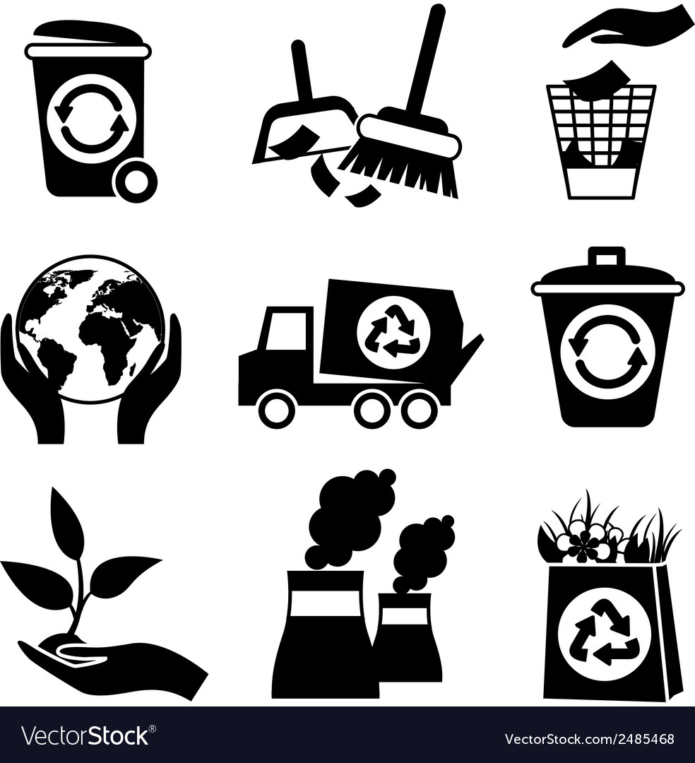 Ecology icon set black and white vector | Price: 1 Credit (USD $1)