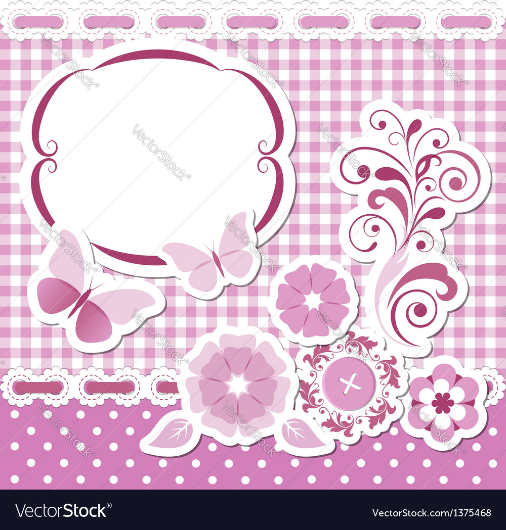 Floral scrapbook pink set vector | Price:  Credit (USD $)