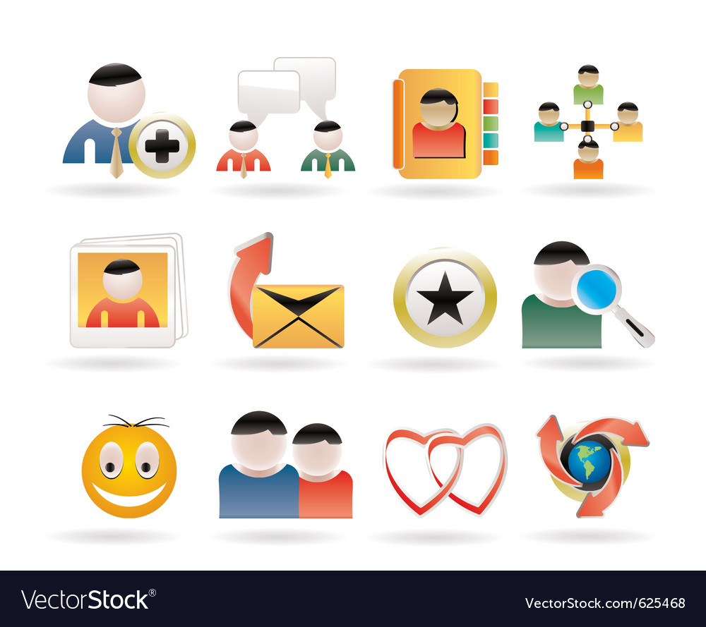 Internet community and social network icons vector | Price: 3 Credit (USD $3)
