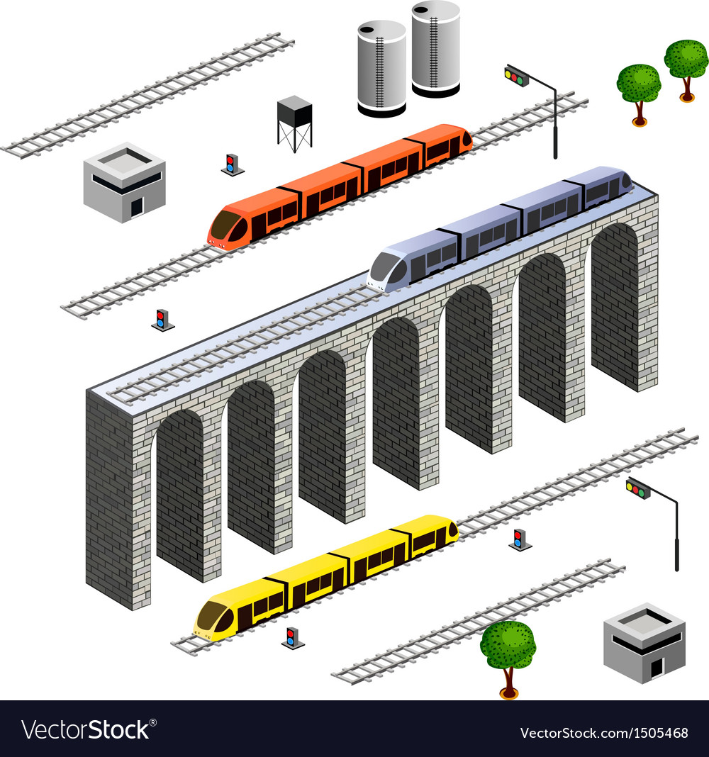 Isometric railroad vector | Price: 1 Credit (USD $1)