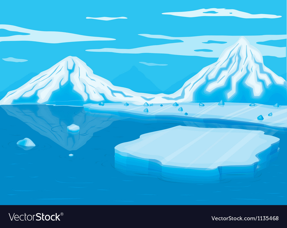 Mountain covered with snow and sea vector | Price: 1 Credit (USD $1)
