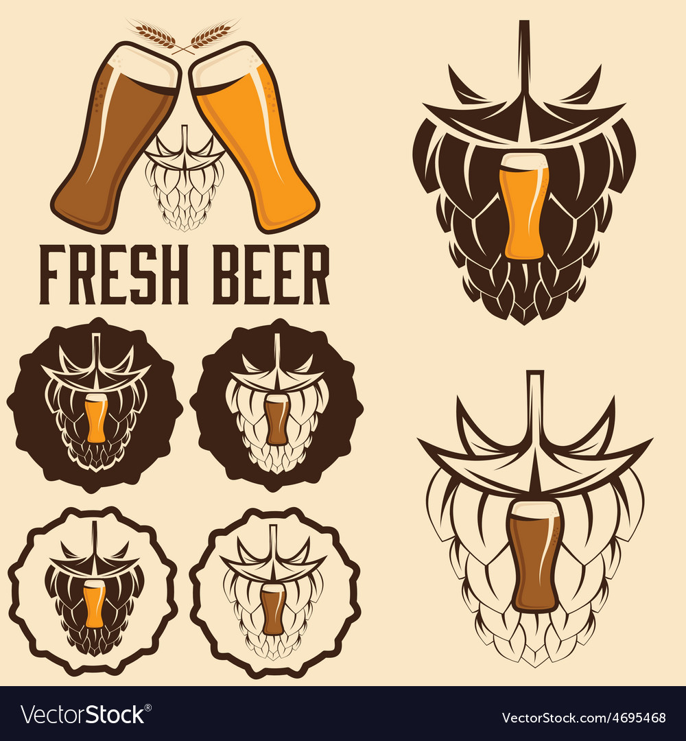 Set of beer labels with spikes and hop vector | Price: 1 Credit (USD $1)