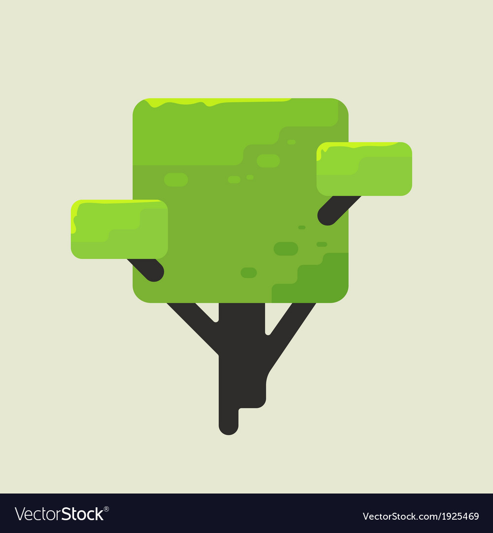 A square tree with green foliage vector   Price: 1 Credit (USD $1)