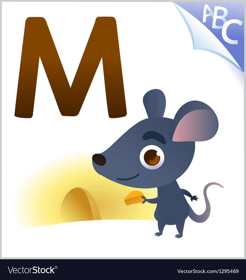 Animal alphabet for the kids m for the mouse vector | Price: 1 Credit (USD $1)