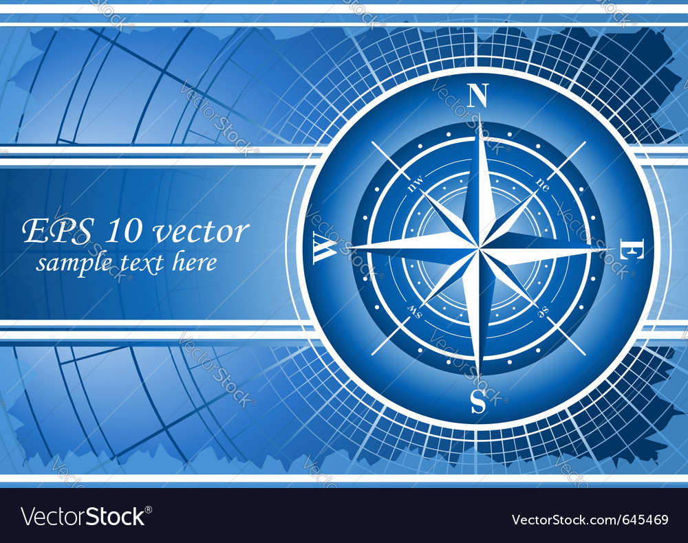 Blue background with compass rose vector | Price: 1 Credit (USD $1)