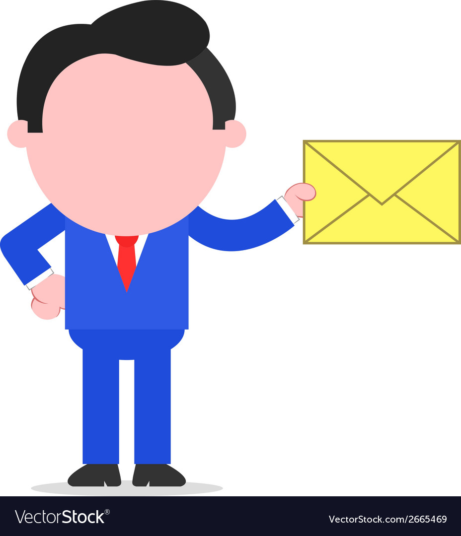 Businessman holding mail envelope vector | Price: 1 Credit (USD $1)