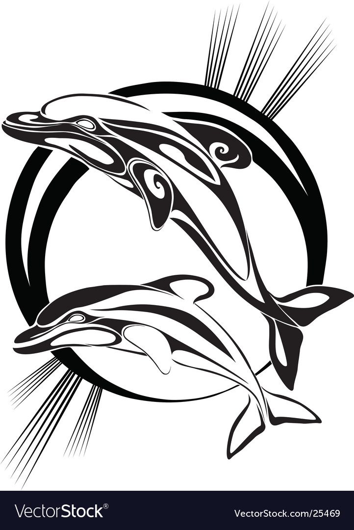 Dolphins silhouette vector | Price: 1 Credit (USD $1)