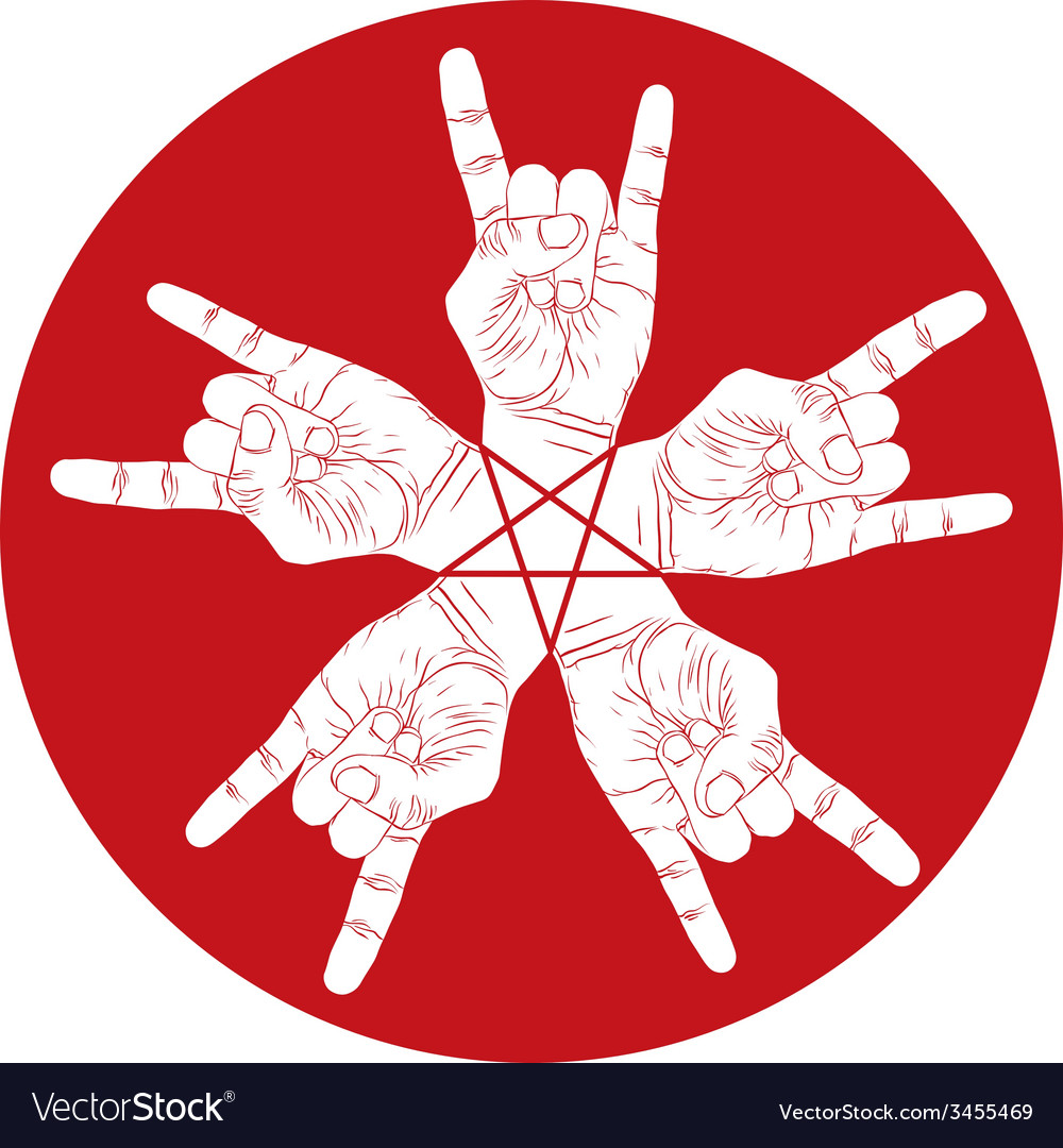 Five rock hands abstract symbol with five point vector | Price: 1 Credit (USD $1)