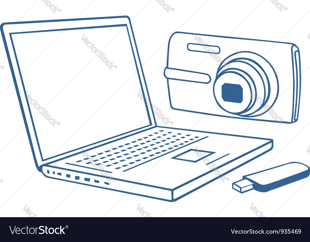 Laptop photo camera usb flash drive vector | Price: 1 Credit (USD $1)