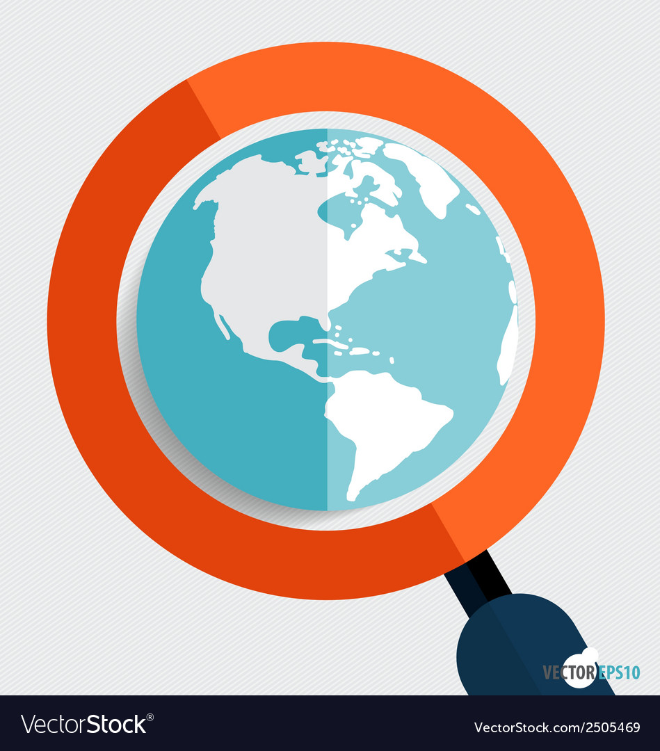 Magnifying glass and globe business working vector | Price: 1 Credit (USD $1)