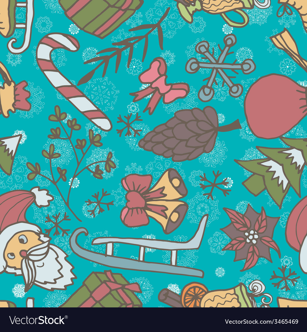New year seamless pattern endless christmas vector | Price: 1 Credit (USD $1)
