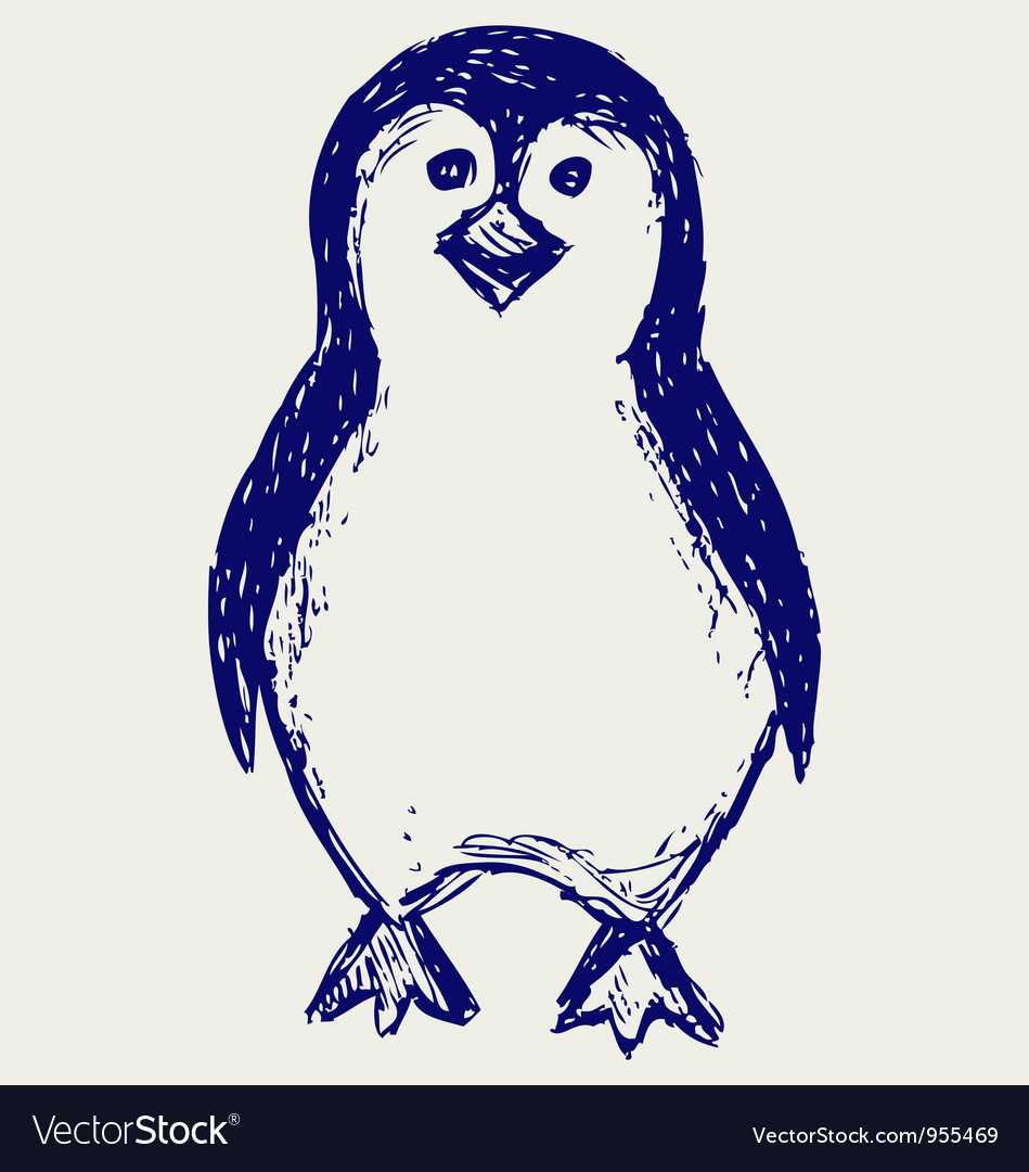Penguin sketch vector | Price: 1 Credit (USD $1)