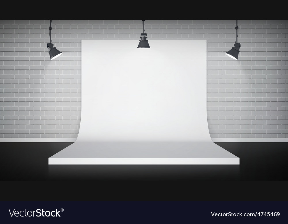Studio interior with white backdrop vector