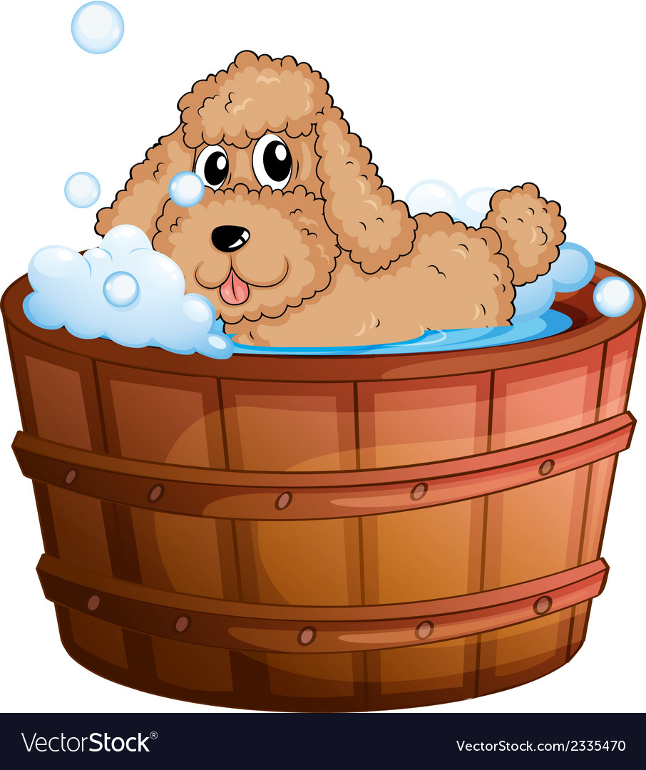 A dog taking a bath vector | Price: 1 Credit (USD $1)