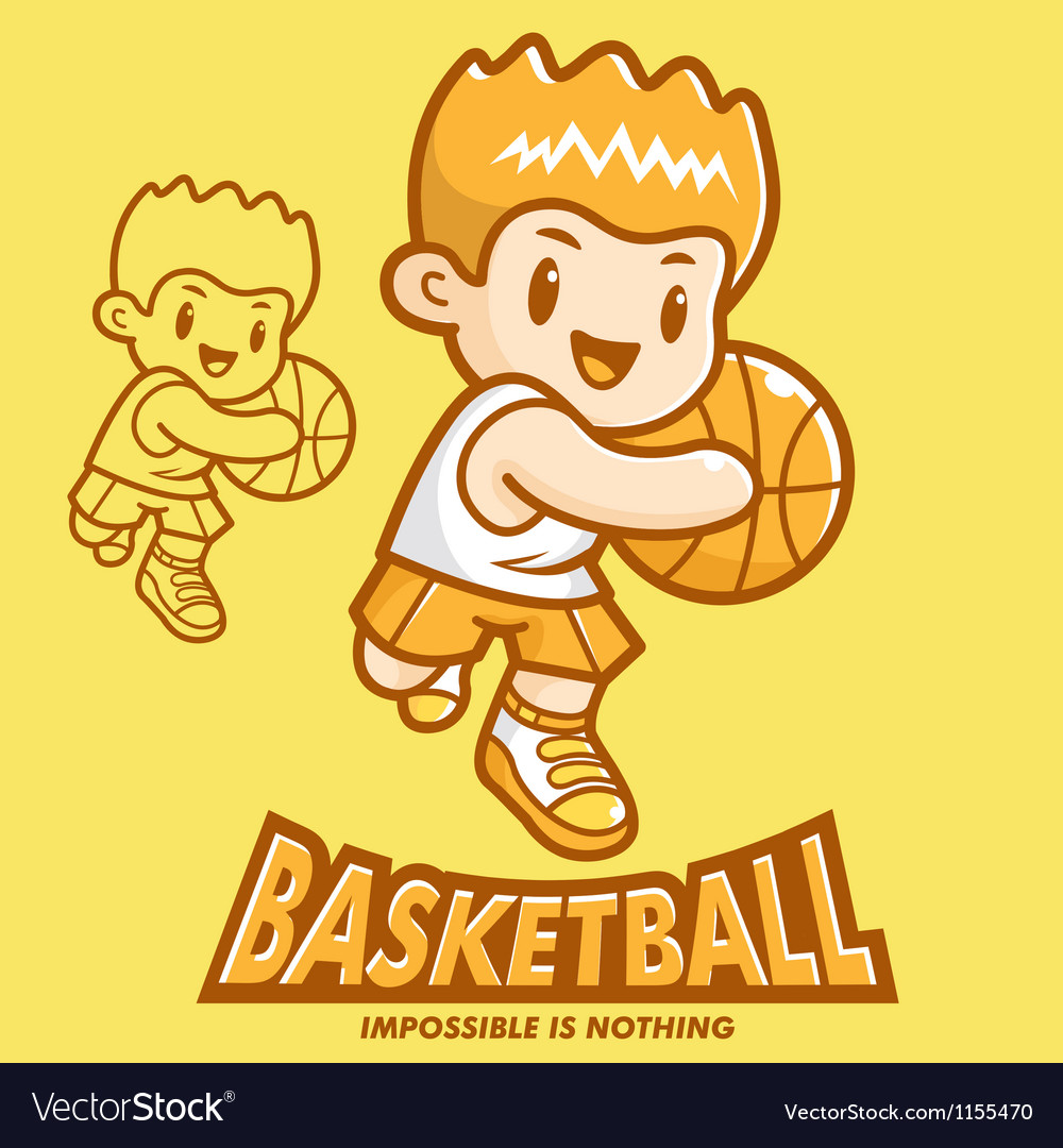 Basketball exercise in boys mascot vector | Price: 1 Credit (USD $1)